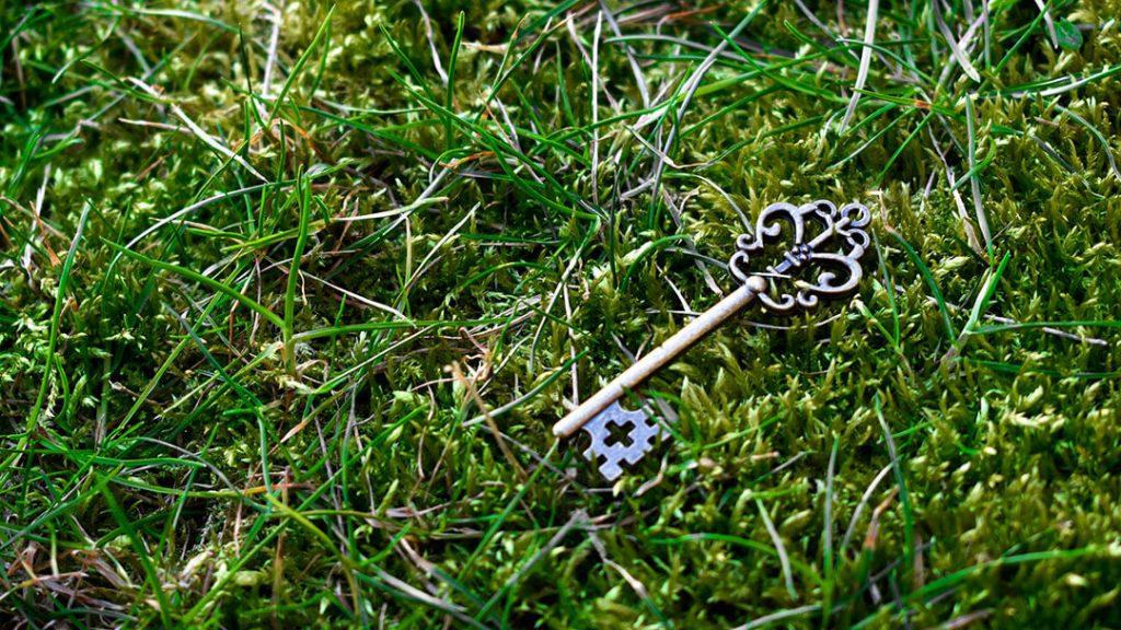 Clé perdue dans l'herbe