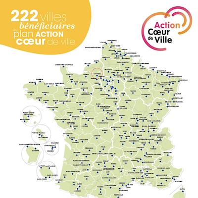 Carte des 222 villes retenues